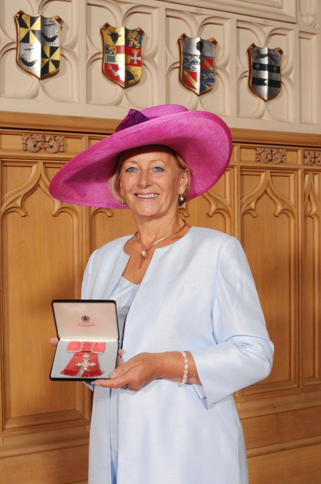 Shirley Davis-Fox with the MBE at Windsor Castle.