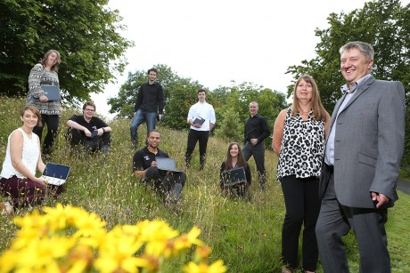 Natural Resources Wale ICT service manager Mark Diggle with Acorn Group's Vanessa Hope and apprentices Declan Jones, Owen Roberts, Amy-Kate Burns, Helen Marie Furlong, Cullen Ellis, Celyn Marshall, Charles Hughes and Dee Kosmala.