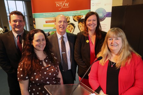 Conference speakers (from left) Mark McDonough from Grŵp Llandrillo Menai, Kelly Edward, the NTfW's head of work-based learning quality, Mark Evans, Her Majesty's Inspector from Estyn, Sarah John, the NTfW's chairman and Julie James, Minister for Skills and Science.