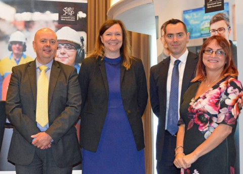 L-R Jeff Protheroe, Director of Operations NTfW, Sarah John, Chair NTfW, Jason Hyam, Business Manager Arthur J Gallagher  and Samantha Huckle, Head of Apprenticeships, Welsh Government