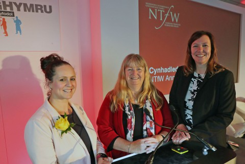 Wales' Minister for Skills and Science Julie James (centre) with Sarah John, NTfW chair and Kelly Edwards, the NTfW's head of work-based learning quality.